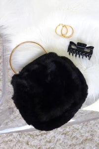 FUR REAL PURSE - BLACK