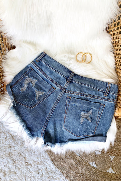 JEAN SHORTS W/RIPS DARKWASH