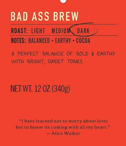 Bad ass brew dark roast coffee label