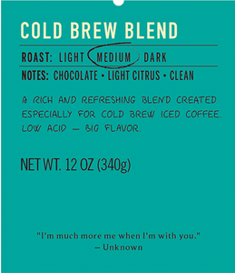 Cold brew medium roast coffee blend label