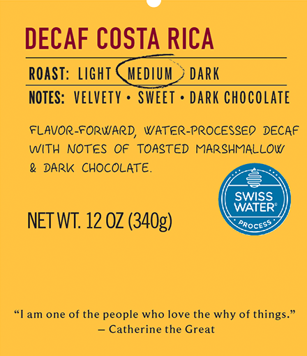 Decaf costa rica medium roast coffee label