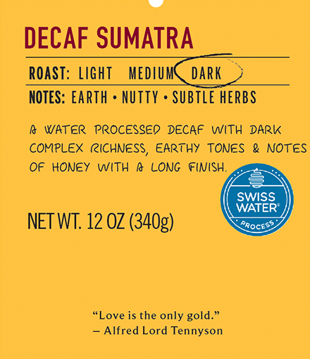 Decaf sumatra dark roast coffee label