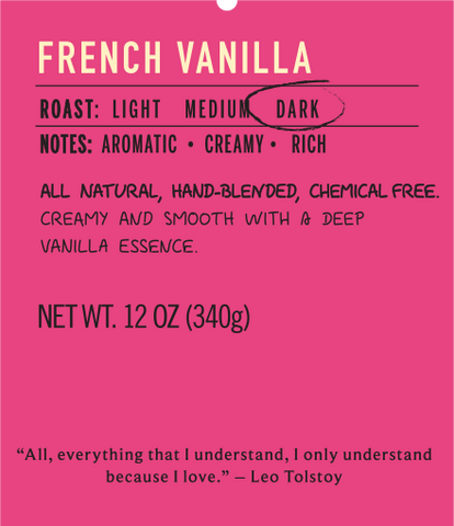 French vanilla dark roast coffee flavor label