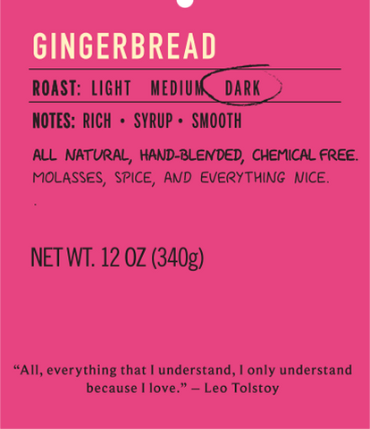 Gingerbread dark roast coffee flavor label