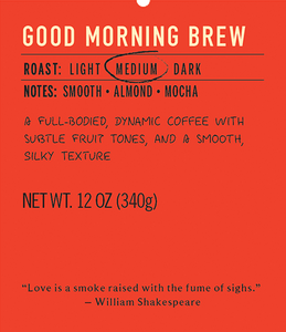 Good morning brew medium roast coffee blend label