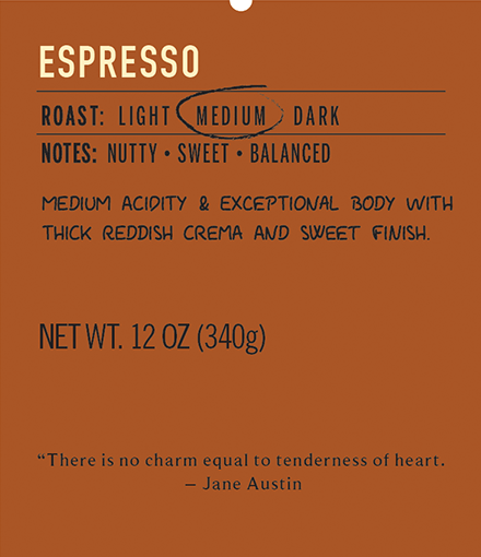 Medium roast coffee espresso label