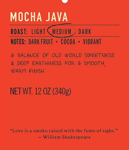 Mocha java medium roast coffee blend label