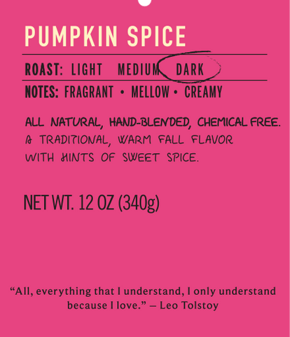 Pumpkin spice dark roast coffee flavor label