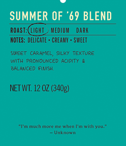 Summer of 69 light roast coffee blend label