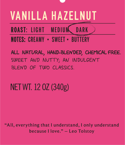 Vanilla hazelnut dark roast coffee flavor label