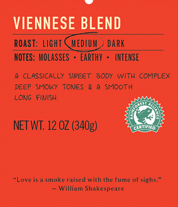 Viennese medium roast coffee blend label