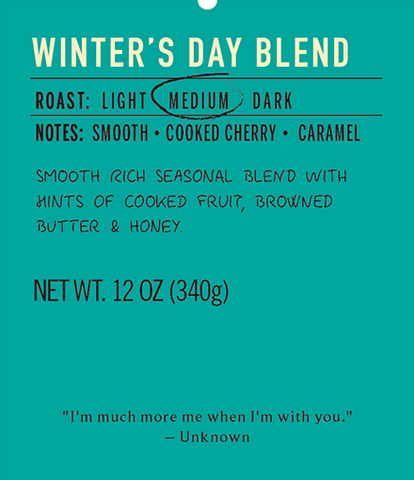 Winter's day blend medium roast coffee label
