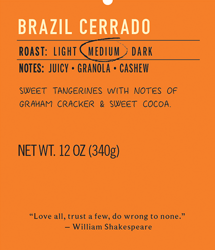 brazil cerrado medium roast coffee label