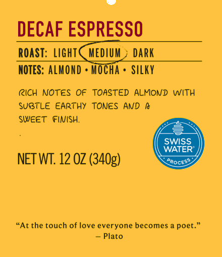 decaf espresso medium roast coffee label