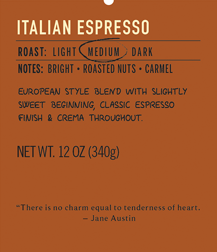 italian espresso medium roast coffee label