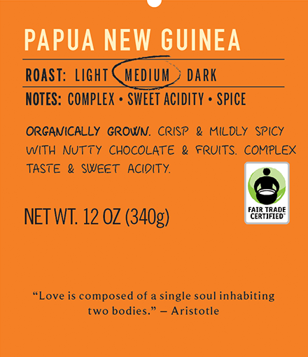 papua new guinea medium roast coffee label