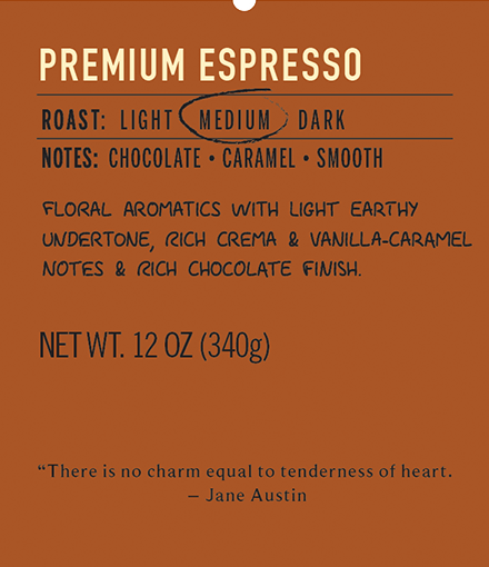 premium espresso medium roast coffee label