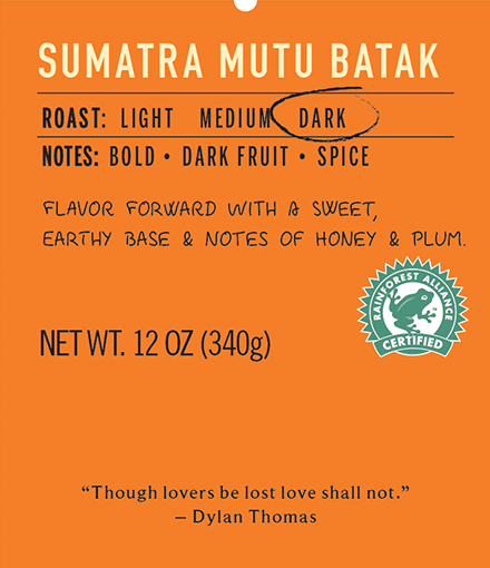 sumatra mutu batak dark roast coffee label