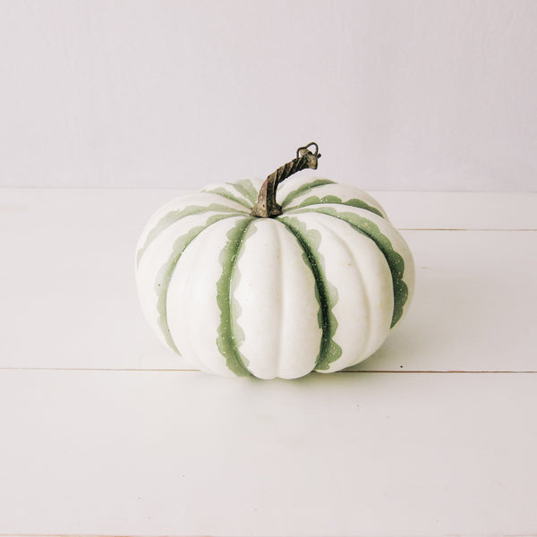 Green + White Striped Decorative Pumpkin