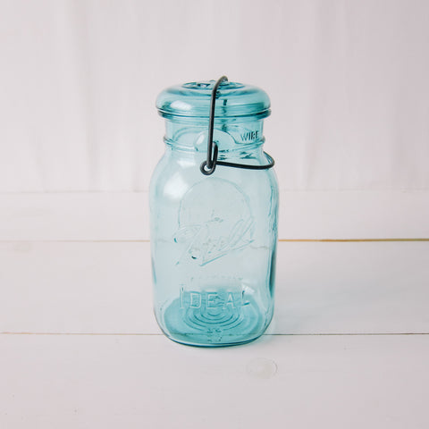 Vintage Blue Ball Mason Jar with Lid