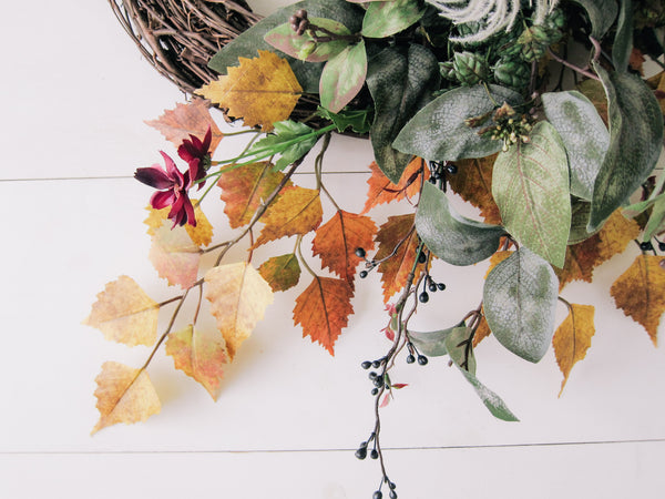 Fall Vibrant Floral Modern Wreath