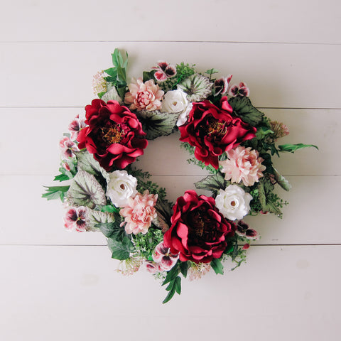 Magenta Begonia Traditional Wreath