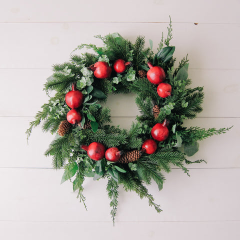 Holiday Pomegranate + Greenery Wreath