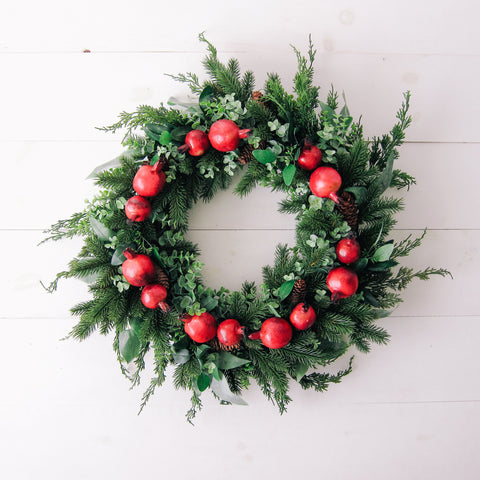 Large Holiday Pomegranate + Greenery Wreath