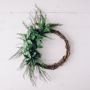 Large Modern Winter Greenery Wreath