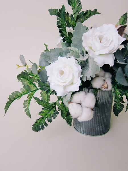 One-of-a-Kind Cotton + Greenery Arrangement