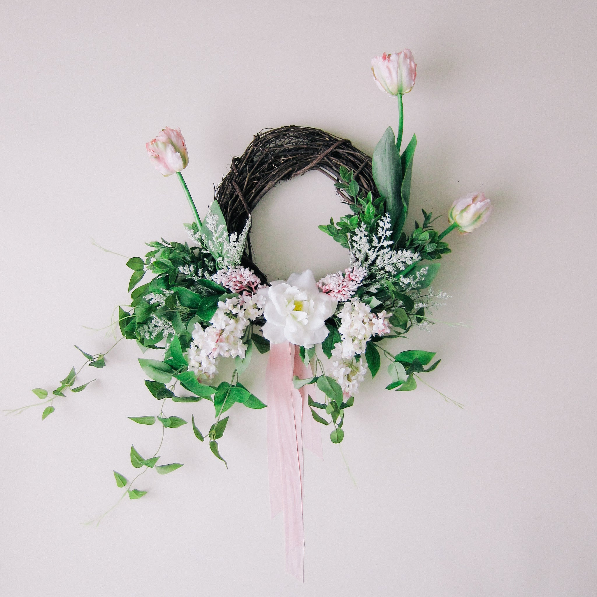 Modern Spring Tulip Wreath with Silk Ribbon