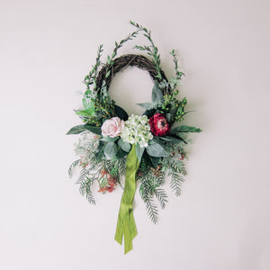 Modern Fuchsia Hydrangea Wreath with Silk Ribbon