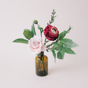 Fuchsia Rose Small Floral Bundle with Amber Vase