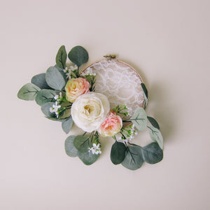 Little Pink Rose Embroidery Hoop Wreath