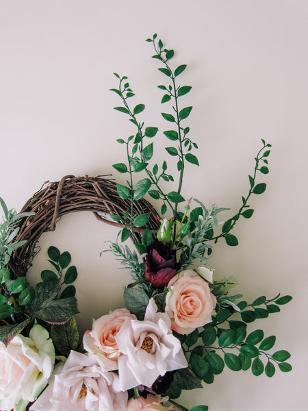 Modern Wild Rose Wreath with Silk Ribbon