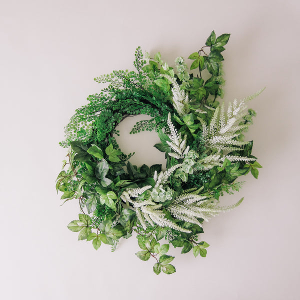 Astilbe + Greenery Wreath