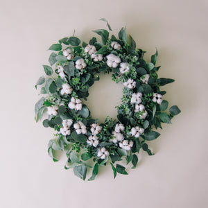 Cotton + Greenery Wreath