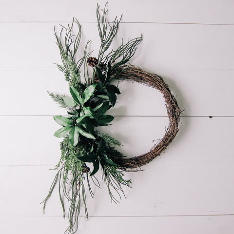 Modern Winter Greenery Wreath