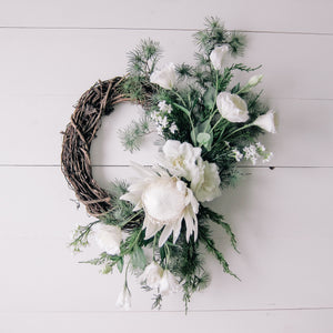 Modern Winter Protea + Greenery Wreath