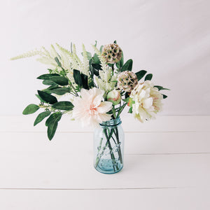 Blush Dahlia Large Floral Arrangement in Vintage Blue Ball Mason Jar