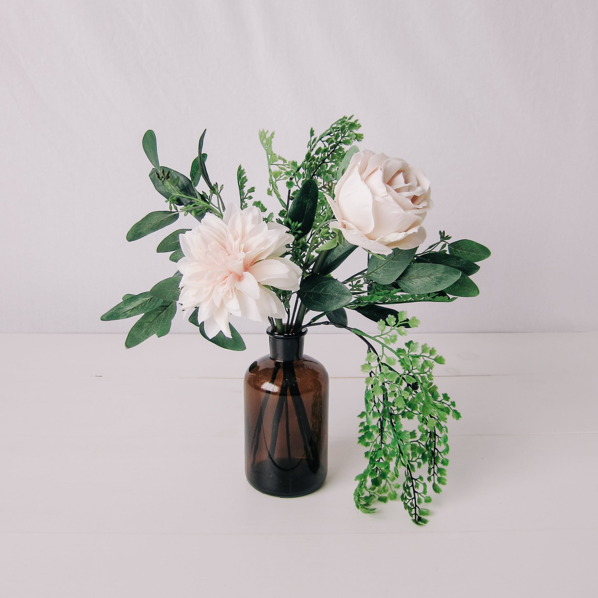 Blush Dahlia Small Floral Bundle with Amber Vase