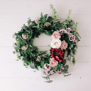 Summer Begonia Wreath in Magenta