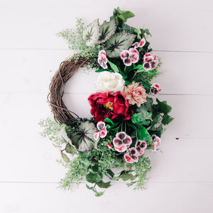 Summer Begonia Modern Wreath in Magenta