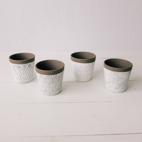 Patterned White Flower Pot
