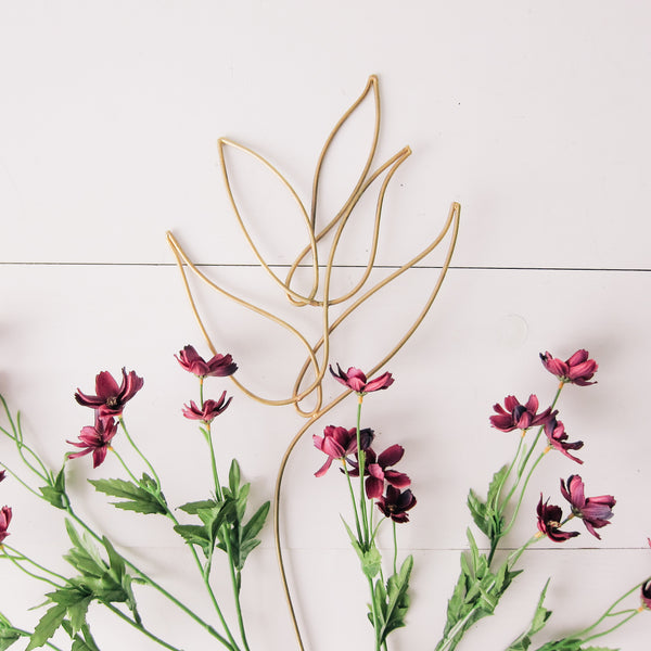 Gold Wire Leaf Plant Stick
