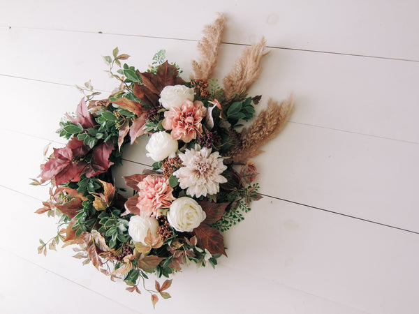 Fall Leaves + Pampas Grass Wreath