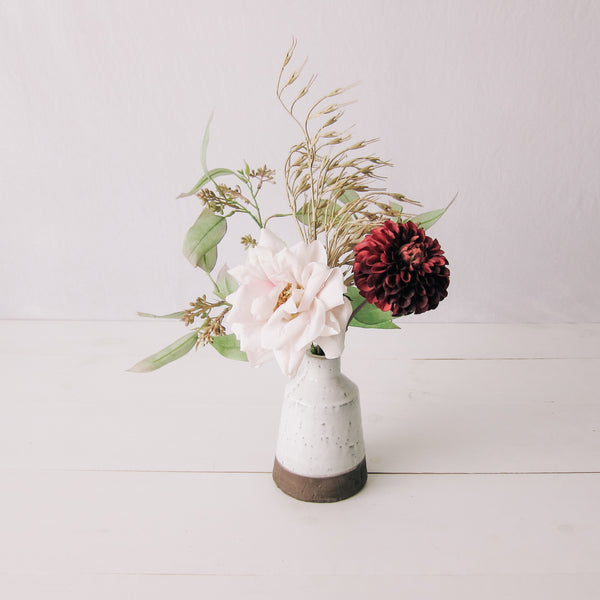 Fall Field + Floral Arrangement in Pottery Vase