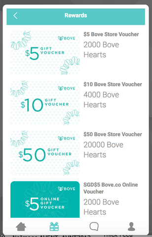 Choose Bove Reward to redeem