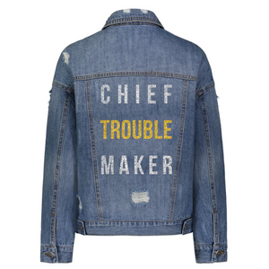 Chief Troublemaker Denim Jacket in Silver and Gold