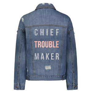 Chief Troublemaker Denim Jacket in Silver and Rose Gold
